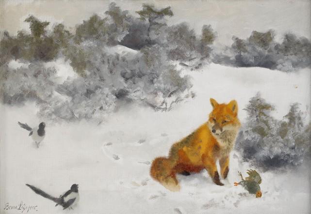 Bruno Liljefors - Räv i vinterlandskap
