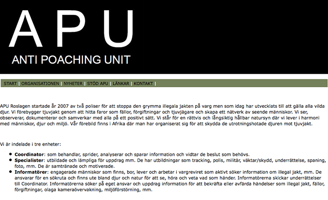 APUs hemsida med organisation
