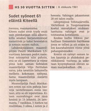 Finsk artikel om vargangrepp 1961