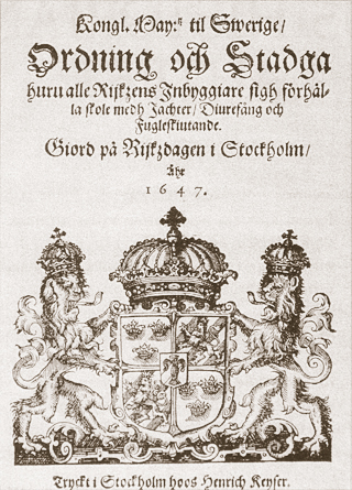 Jaktstadgar utgivna av Drottning Kristina 1647.