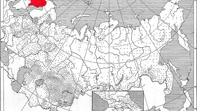 Vargens utbredning i Sovjetunionen, med vårt renskötselområde.