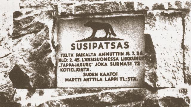 Finsk minnestavla över varg skjuten den 19 juli 1936.
