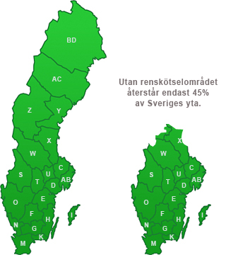 45% av Sverige återstår utan renskötselområdet.