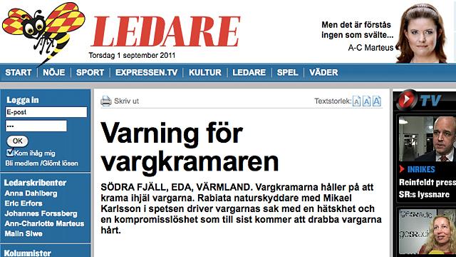Tommy Hammarströms ledarartikel den 29 augusti 2011