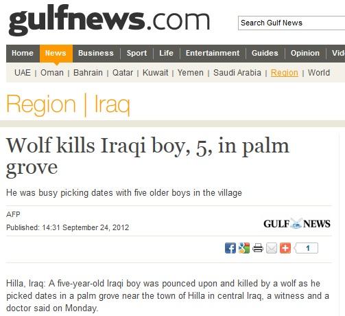 5-årig pojke dödad av varg, Irak