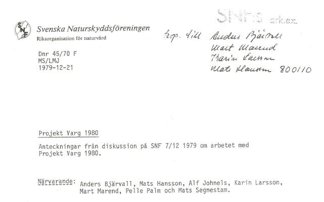 Projekt Varg mötesanteckningar 1979