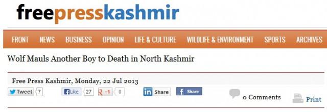 ännu ett  barn dödat av varg kashmir