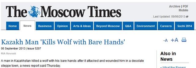man dödade varg med bara händerna kazakstan