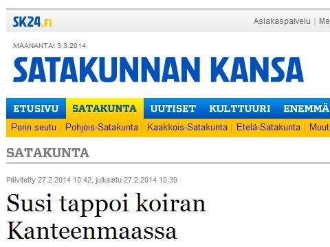hund dödad av varg finland