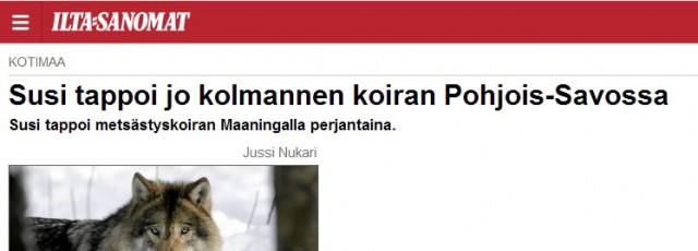 tre hundar vargdödade inom samma område finland