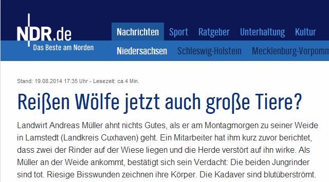 Oro efter misstänkt vargdödade kalvar, Tyskland